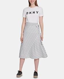DKNY Striped Wrap Skirt