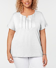 Plus Size Cotton Pleated Split-Neck Top, Created for Macy's