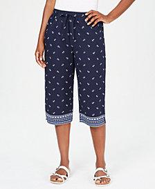 Karen Scott Anchor Days Border-Print Capri Pants, Created for Macy's