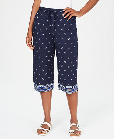 Karen Scott Anchor Days Border-Print Capri Pants, Created for Macy's