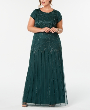 1920s Plus Size Flapper Dresses, Gatsby Dresses, Flapper Costumes Adrianna Papell Plus Size Bead-Illusion Blouson Dress $196.99 AT vintagedancer.com