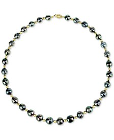 "Cultured Baroque Tahitian Pearl (8-10mm) & Bead 18"" Collar Necklace in 14k Gold"
