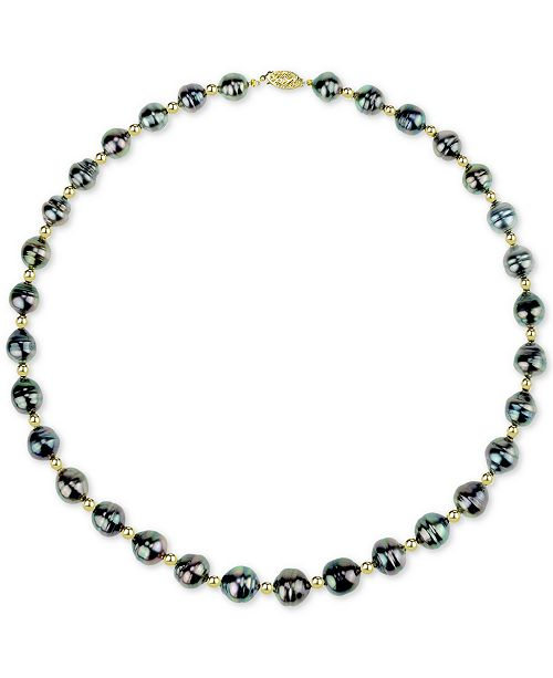 "Macy's Cultured Baroque Tahitian Pearl (8-10mm) & Bead 18"" Collar Necklace in 14k Gold"