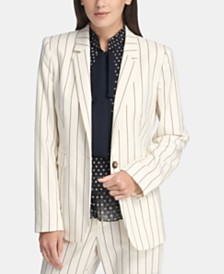 DKNY Pinstriped One-Button Blazer
