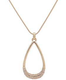 "DKNY Gold-Tone Pavé Teardrop 42"" Long Pendant Necklace, Created for Macy's"