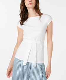 Marella Casa Cotton Tie-Waist Top