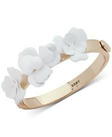DKNY Gold-Tone White Floral Bangle Bracelet, Created for Macy's