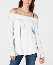 I.N.C. Smocked Off-The-Shoulder Top, Created for Macy's