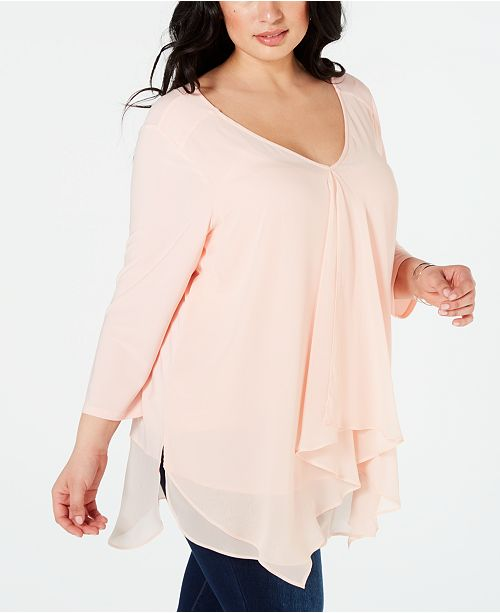 NY Collection Plus Size Ruffled High-Low Top