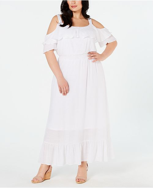 NY Collection Plus Size Cold-Shoulder Maxi Dress & Reviews ...