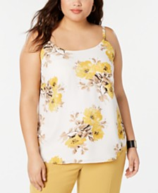 Bar III Plus Size Floral Camisole, Created for Macy's
