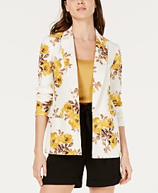 Bar III Floral-Print Open-Front Jacket, Created for Macy's
