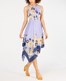 Adrianna Papell Handkerchief-Hem A-Line Dress