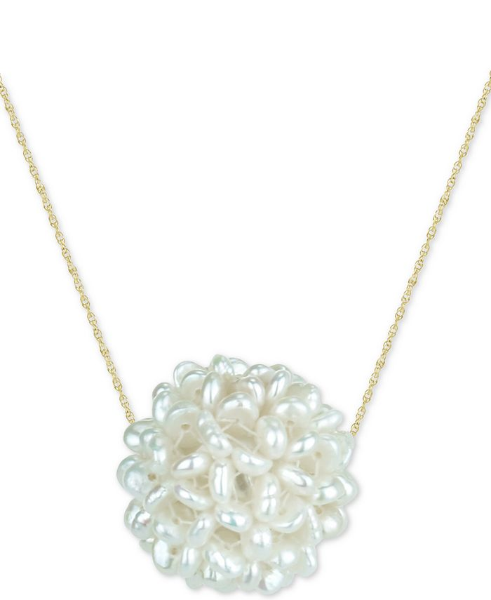 """Macy's - Cultured Freshwater Pearl (2-3mm) Cluster 18"""" Pendant Necklace in 14k Gold"""