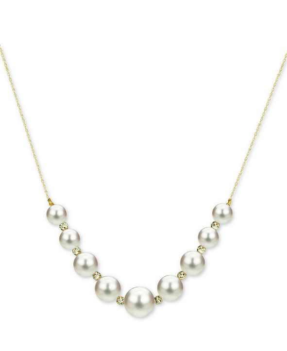 """Macy's Cultured Freshwater Pearl (5-9mm) Graduated 18"""" Statement Necklace in 14k Gold"""