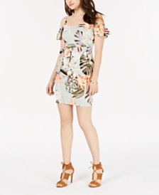 GUESS Printed Cold-Shoulder Sheath Dress