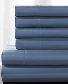 Delray Woven Stripe Bonus Cotton Blend 600 thread count Queen Sheet Set
