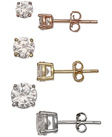 Giani Bernini 3-Pc. Set Tricolor Cubic Zirconia Stud Earrings in Sterling Silver & Gold- and Rose Gold-Plate, Created for Macy's