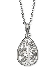"Giani Bernini Cubic Zirconia Captured Vine Pendant Necklace in Sterling Silver, 16"" + 2""  extender, Created for Macy's"