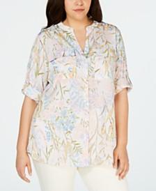 Calvin Klein Plus Size Floral-Print Shirt