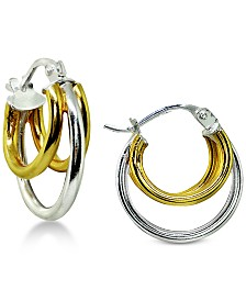 Giani Bernini Two-Tone Multi-Ring Hoop Earrings in Sterling Silver & 18k Gold-Plate, Created for Macy's