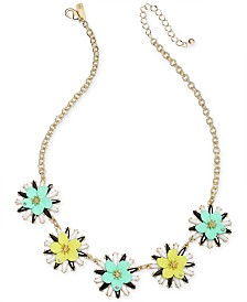 "I.N.C. Gold-Tone Multi Flower Statement Necklace, 17"" + 3"" extender, Created for Macy's"