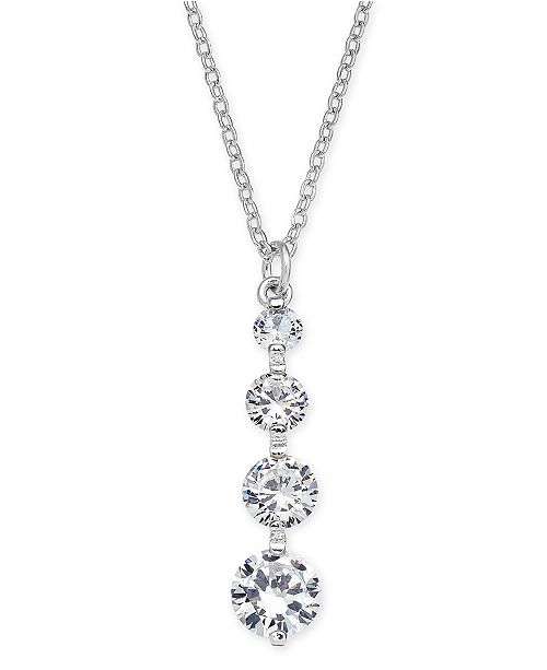 """INC International Concepts INC Silver-Tone Crystal Drop Pendant Necklace, 17"""" + 3"""" extender, Created for Macy's"""