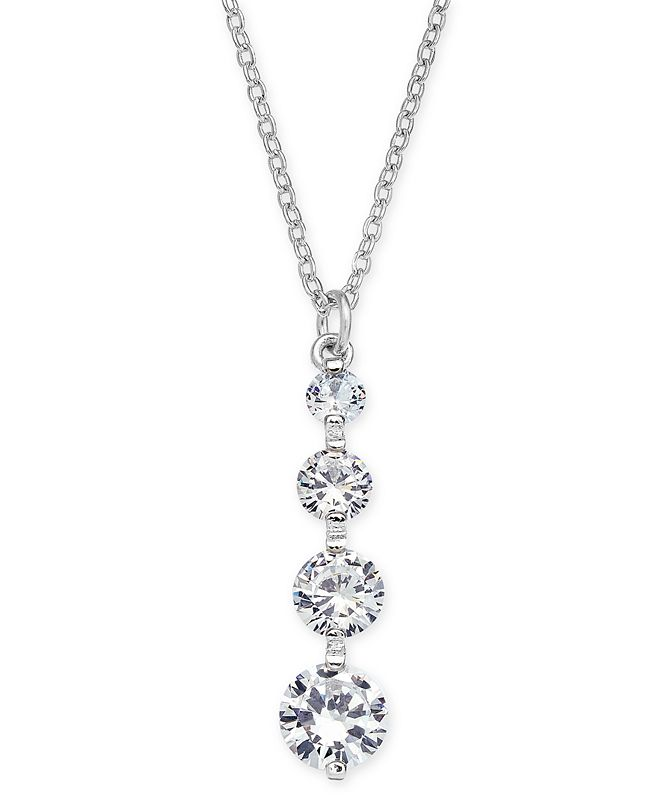 """INC International Concepts INC Crystal Drop Pendant Necklace, 17"""" + 3"""" extender, Created for Macy's"""