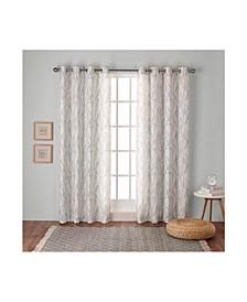 "Branches Linen Blend Grommet Top Curtain Panel Pair, 54"" x 96"""