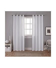 Carling Basketweave Textured Woven Blackout Grommet Top Curtain Panel Pair
