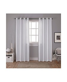 Exclusive Home Carling Basketweave Textured Woven Blackout Grommet Top Curtain Panel Pair