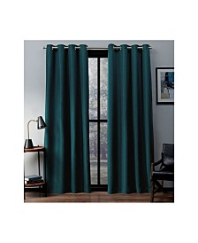 Exclusive Home Eglinton Woven Blackout Grommet Top Curtain Panel Pair