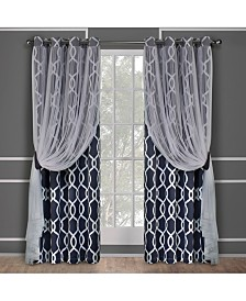 Exclusive Home Carmela Layered Geometric Blackout and Sheer Grommet Top Curtain Panel Pair