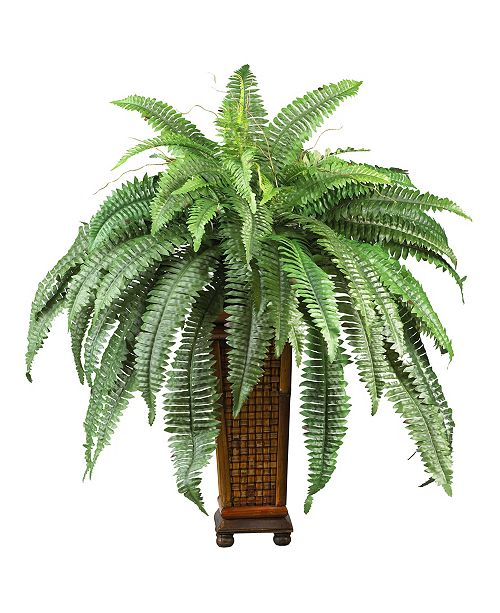 Nearly Natural Boston Fern w/ Wood Vase Silk Plant