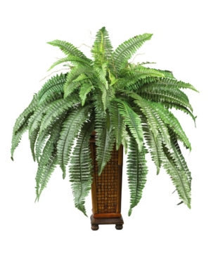 Nearly Natural Boston Fern w/ Wood Vase Silk Plant