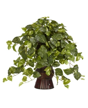 Nearly Natural Pothos w/ Bamboo Vase Silk Plant