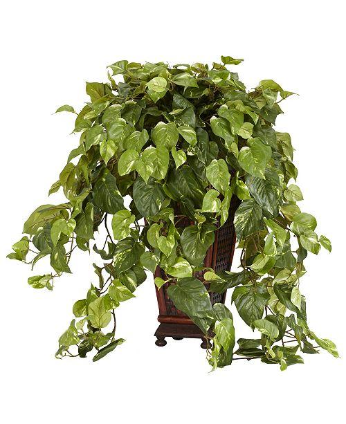 Nearly Natural Vining Pothos w/ Decorative Vase Silk Plant