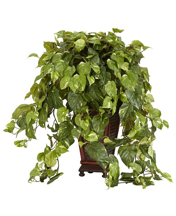 Nearly Natural Vining Pothos w/ Decorative Vase Silk Plant
