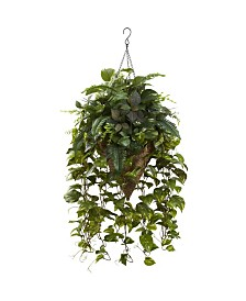 Nearly Natural Vining Mixed Greens w/ Cone Hanging Basket