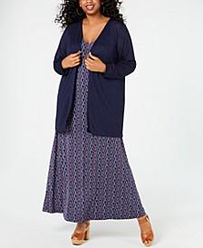 Plus Size Straight-Edge Cardigan