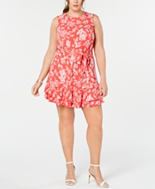 MICHAEL Michael Kors Plus Size Reef-Print Ruffle Dress