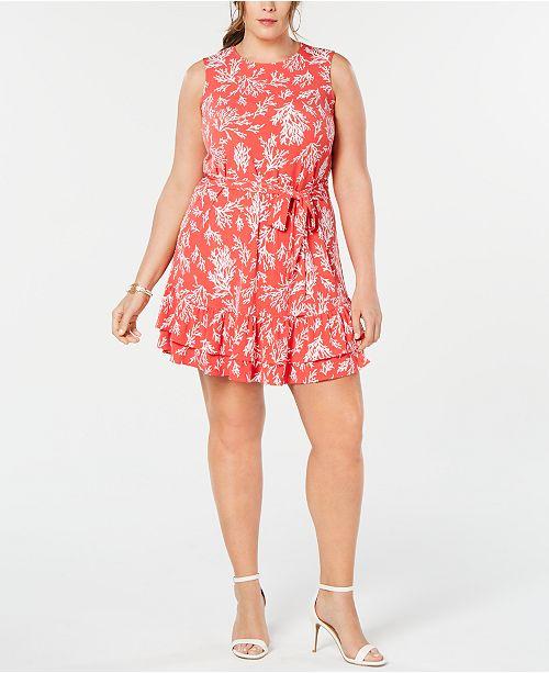 Michael Kors Plus Size Reef-Print Ruffle Dress