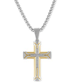 """Esquire Men's Jewelry Diamond Cross 22"""" Pendant Necklace (1/10 ct. t.w.) in Stainless Steel & Gold Ion-Plate, Created for Macy's"""