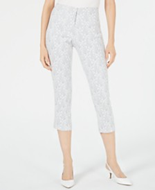 Alfani Petite Jacquard Hollywood Waist Cropped Pants, Created for Macy's
