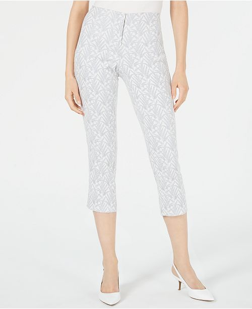 Alfani Petite Jacquard Hollywood Waist Cropped Pants, Created for Macy's