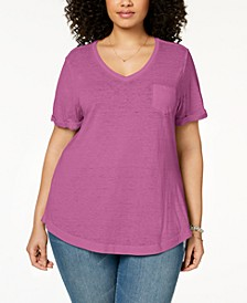 Plus Size Burnout T-Shirt, Created for Macy's