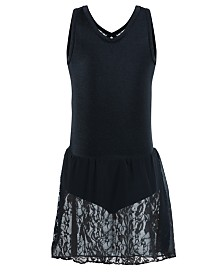Flo Dancewear Little & Big Girls Sequin-Lace Tank Leotard Dress