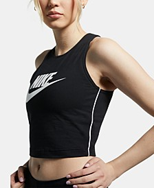 Sportswear Cotton Logo Cropped Tank Top