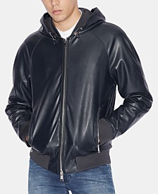 A|X Armani Exchange Men's Faux-Leather Hooded Jacket