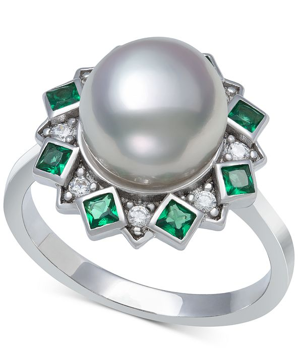 Macy's Cultured Freshwater Pearl (9-10mm) & Cubic Zirconia Statement Ring in Sterling Silver